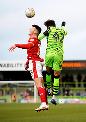 Odin Bailey of Forest Green Rovers and Rory Holden of Walsall compete for the highball- Mandatory by-line: Nizaam Jones/JMP - 08/02/2020 - FOOTBALL - New Lawn Stadium - Nailsworth, England - Forest Green Rovers v Walsall - Sky Bet League Two