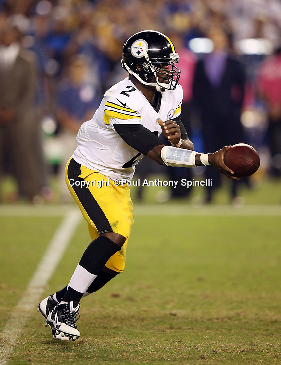 Pittsburgh Steelers quarterback Mike Vick (2) hands off the ball on a fourth quarter running play during the 2015 NFL week 5 regular season football game against the San Diego Chargers on Monday, Oct. 12, 2015 in San Diego. The Steelers won the game 24-20. (©Paul Anthony Spinelli)