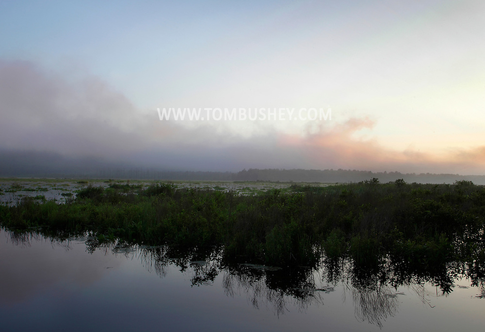 Mamakating, New York - A view of the Bashakill Wildlife Management Area before dawn on a foggy summer day. June 26, 2011.