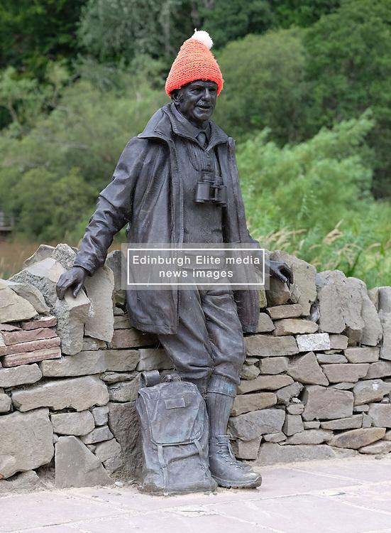 Views of Balmaha, Loch Lomond, Scotland, 31st July 2016<br /> <br /> The statue of broadcaster, writer and climber Tom Weir at Balmaha<br /> <br /> (c) Alex Todd | Edinburgh Elite media
