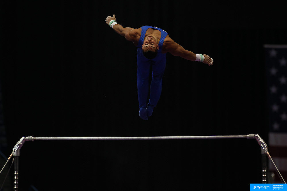 Brandon Wynn, Columbus, Ohio, in action on the Horizontal bar during the Senior Men Competition at The 2013 P&G Gymnastics Championships, USA Gymnastics' National Championships at the XL, Centre, Hartford, Connecticut, USA. 16th August 2013. Photo Tim Clayton