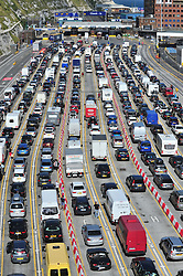 © Licensed to London News Pictures. 24/07/2016<br /> THE MASSIVE QUEUE AT DOVER DOCKS CHECK IN.<br /> <br /> The Dover traffic hell continues today (24.07.2016) in Kent.<br /> Long queues at the Port of Dover this afternoon<br />  because of very long delays at French border control. <br /> (Byline:Grant Falvey/LNP)