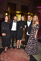 Left to right, Amelia Dornan, Jamie Dornan, Rafe Spall his wife Elize du Toit and Lady Jubie Wigan at The Sugarplum Dinner 2017 to benefit the type 1 diabetes charity JDRF held at the Victoria & Albert Museum, Cromwell Road, London England. 14 November 2017.<br /> Photo by Dominic O'Neill/SilverHub 0203 174 1069 sales@silverhubmedia.com