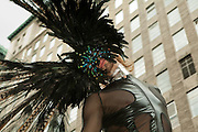 Dramatic, feathered participant in the 2011 Pride Parade in New York.