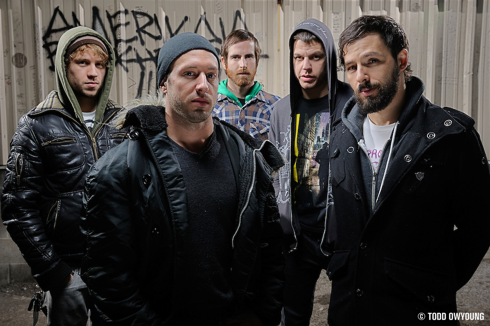 The Dillinger Escape Plan photographed backstage at Pop's in Sauget, IL on December 12, 2009.