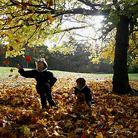 Autumn Pics....15.10.03....Sisters Rebecca (7) and Emily Curd (2) from St Andrews, playing in the fallen leaves at Kinnoull Hill in Perth.<br />