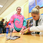 Elena Delle Donne signing her books for Paige West (10) Saturday, March 10, 2018, at Barnes and Noble in Wilmington Delaware.