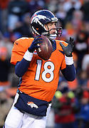 Denver Broncos quarterback Peyton Manning looks downfield to throw the football during the second half of their AFC Divisional Playoff game against the San Diego Chargers in Denver, Colorado, USA 12 January 2014. Denver won the game 24-17 to advance to the AFC Championship game against the New England Patriots.  EPA/BOB PEARSON