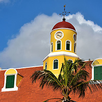 Fort Amsterdam Church Clock Tower in Punda, Eastside of Willemstad, Cura&ccedil;ao  <br />