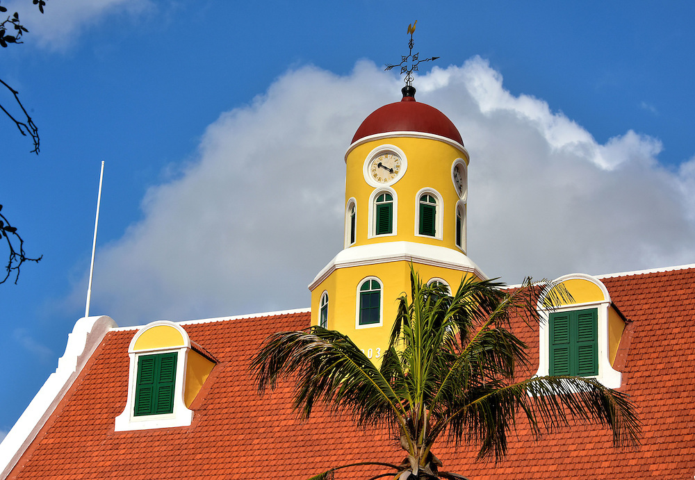 Fort Amsterdam Church Clock Tower in Punda, Eastside of Willemstad, Curaçao  <br />