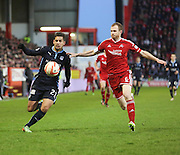 Dundee's Luka Tankulic and Aberdeen's Mark Reynolds -  Aberdeen v Dundee, SPFL Premiership at Pittodrie<br />
