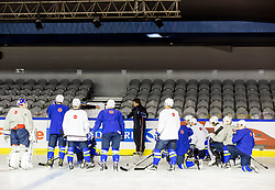 Nik Zupancic, head coach of Slovenia and Edo Terglav with players during practice session of Team Slovenia at the 2017 IIHF Men's World Championship, on May 11, 2017 in AccorHotels Arena in Paris, France. Photo by Vid Ponikvar / Sportida