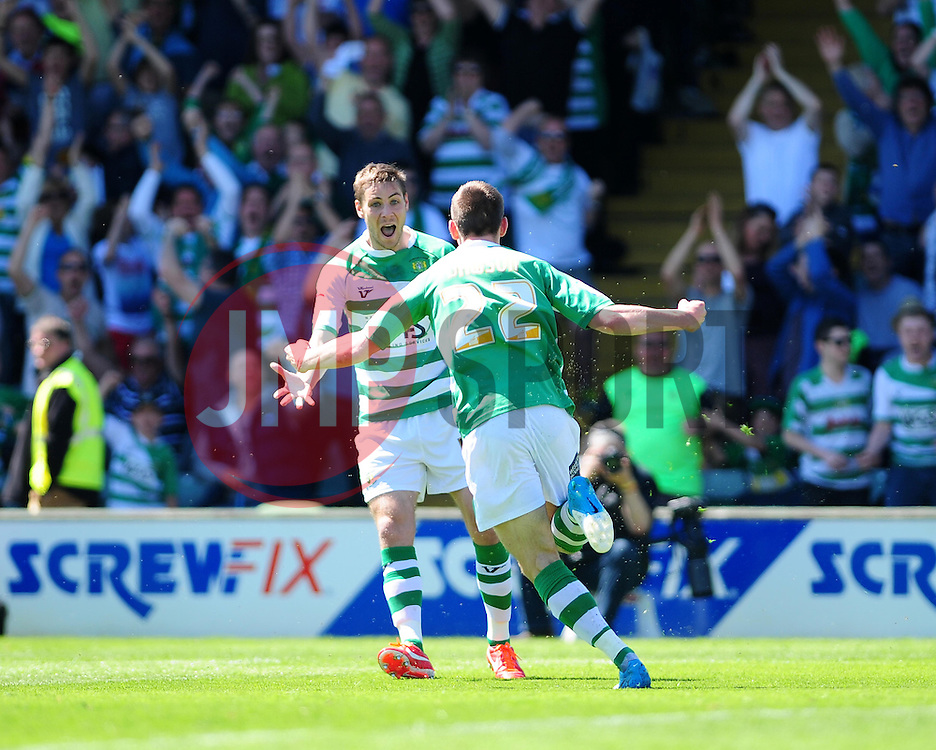 Yeovil Town's Kevin Dawson  celebrates his opening goal - Photo mandatory by-line: Dougie Allward/JMP - Tel: Mobile: 07966 386802 03/05/2013 - SPORT - FOOTBALL - Bramall Lane - Sheffield - Sheffield United V Yeovil Town - NPOWER LEAGUE ONE PLAY-OFF SEMI-FINAL FIRST LEG