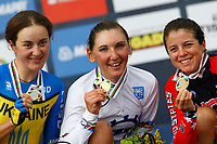 Sykkel<br /> UCI VM 2014<br /> Ponferrada Spania<br /> 23.09.2014<br /> Foto: PhotoNews/Digitalsport<br /> NORWAY ONLY<br /> <br /> Ponferrada - Spain  - wielrennen - cycling - radsport - cyclisme -  Anna Solovey (Ucraina) - Lisa Brennauer (Germania) - Evelyn Stevens (USA)  pictured during  Championnats du Monde UCI CLM/ UCI TT World Championships (Women Elite)