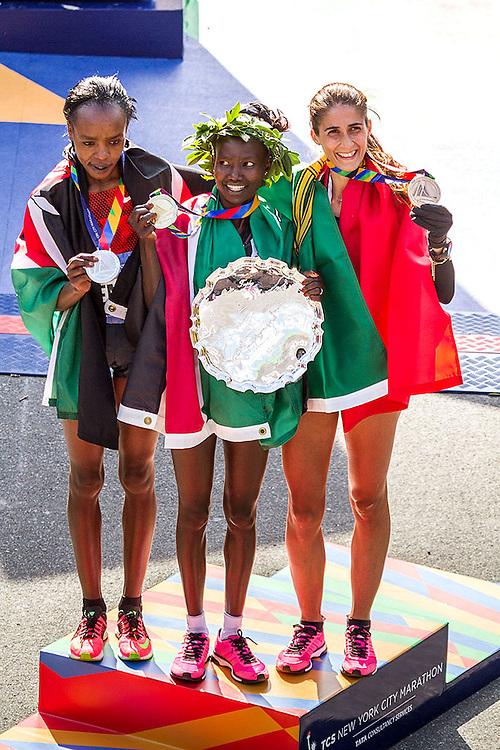 NYC Marathon, women's victory podium, Jemima Sumgong, Mary Keitany, Sara Moreira