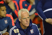 Ipswich Town manager Mick McCarthy watches on  during the Sky Bet Championship match between Reading and Ipswich Town at the Madejski Stadium, Reading, England on 11 September 2015. Photo by Mark Davies.