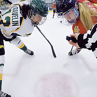 5th year forward Kylie Gavelin (13) of the Regina Cougars in action during the Women's Hockey Home Game on November 26 at Co-operators arena. Credit: Arthur Ward/Arthur