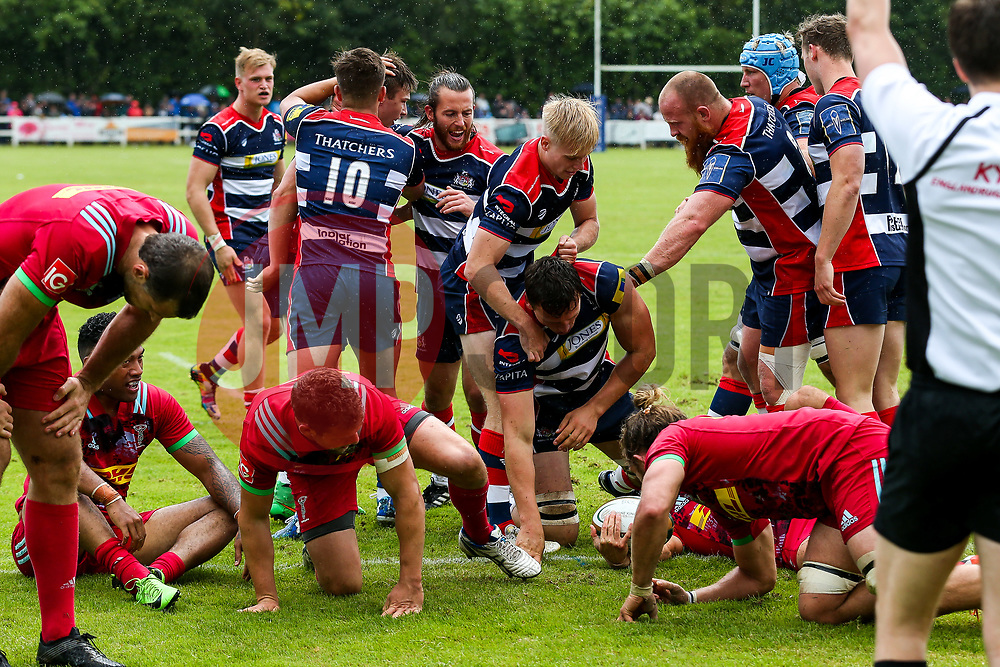 Sam Jeffries of Bristol Rugby celebrates - Rogan/JMP - 05/08/2017 - RUGBY UNION - Cleve RFC - Bristol, England - Bristol Rugby v Harlequins - Pre-Season Friendly.