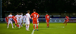 BANGOR, WALES - Monday, October 15, 2018: Wales' Brennan Johnson scores the second goal from a free kick during the UEFA Under-19 International Friendly match between Wales and Poland at the VSM Bangor Stadium. (Pic by Paul Greenwood/Propaganda)