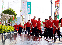 NANNING, CHINA - Thursday, March 22, 2018: Wales' goalkeeper Michael Crowe, Ryan Hedges, Tom Bradshaw and Lee Evans during a team walk near the Wanda Realm Resort ahead of the 2018 Gree China Cup International Football Championship. (Pic by David Rawcliffe/Propaganda)