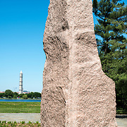 The main pink granite monolith at the Lyndon Baines Johnson Memorial Grove. The memorial is set in Lady Bird Johnson Park on the banks of the Potomac on the George Washington Memorial Parkway in Arlington, Virginia.