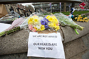 UNITED KINGDOM, London: 23 March 2017 Flowers lay in remembrance of those killed on the morning after a terror attack which killed four people including the attacker in Westminster yesterday. Rick Findler / Story Picture Agency