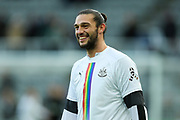 Andy Carroll (#7) of Newcastle United warms up ahead of the Premier League match between Newcastle United and Southampton at St. James's Park, Newcastle, England on 8 December 2019.
