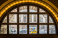 Randolph Street viewed from inside the Chicago Culteral Center.