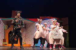 "© Licensed to London News Pictures. 05/08/2015. London, UK. L-R: Simon Webbe, Taofique Forlarin, Daniel Buckley, Alison Jiear and Leanne Jones. West End premiere of the children's story ""The 3 Little Pigs"" at the Palace Theatre starring Simon Webbe as Wolf, Alison Jiear as Mother, Leanne Jones as Bee, Taofique Folarin as Bar and Daniel Buckley as Q. The show runs from 5 August to 6 September 2015. Photo credit: Bettina Strenske/LNP"