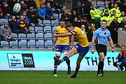 Bath fly half Rhys Priestland (10) converts a penalty 0-3 during the Gallagher Premiership Rugby match between Wasps and Bath Rugby at the Ricoh Arena, Coventry, England on 2 November 2019.