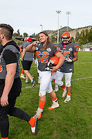 KELOWNA, BC - OCTOBER 6: The Okangan Sun shake hands with the VI Raiders at the Apple Bowl on October 6, 2019 in Kelowna, Canada. (Photo by Marissa Baecker/Shoot the Breeze)