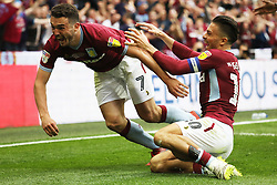 May 27, 2019 - London, England, United Kingdom - JohnMcGinn (7) of Aston Villa celebrates with Jack Grealish (10) of Aston Villa after scoring a goal to make it 2-0 during the Sky Bet Championship Play Off Final between Aston Villa and Derby County at Wembley Stadium, London on Monday 27th May 2019. (Credit Image: © Mi News/NurPhoto via ZUMA Press)