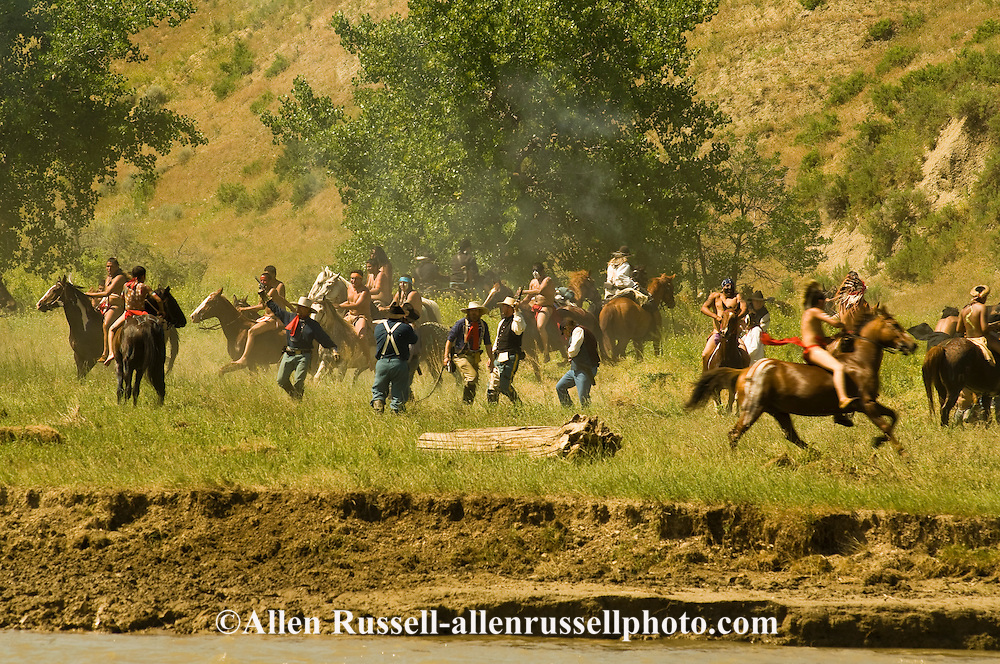 Custers Last Stand Reenactment at Medicine Tail Coulee on Little Bighorn River. Warriors defeat Custer and 7th Cavalry. Real Bird Reenactment.