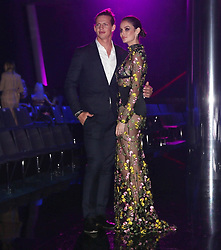 AU_1337116 - Perth, AUSTRALIA  -  Nicole Trunfio and Nat Fyfe close the Perth Fashion Festival at Optus Stadium in Perth, Western Australia<br />