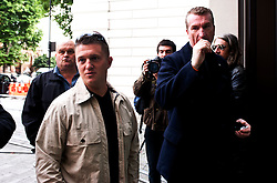 EDL leaders Tommy Robinson and Kevin Carrol appear in court,<br /> English Defence League, leaders ( L -   R  ) Tommy Robinson and Kevin Carroll appear at the Westminster Magistrates' Court. Robinson, whose real name is Stephen Yaxley-Lennon, and Carroll are accused of obstructing police by trying to defy a ban on marching to the scene of Fusilier Lee Rigby's murder via the East London Mosque on June 29, 2013, London, United Kingdom. Wednesday, 11th September 2013. Picture by Piero Cruciatti / i-Images
