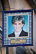 A shop sign on Edinburghs' Royal Mile promoting the Princess Diana memorial tartan