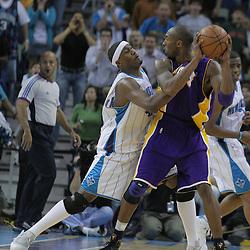 12 November 2008:  New Orleans Hornets forward James Posey (41) defends Los Angeles Lakers guard Kobe Bryant (24) during a NBA regular season game between the Los Angeles Lakers and the New Orleans Hornets at at the New Orleans Arena in New Orleans, LA..