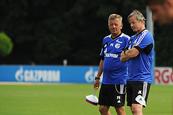 17.07.2013, Trainingsgelaende, Veltins Arena, GER, 1. FBL, FC Schalke 04 Training, im Bild V.l.n.r. Co Trainer Peter Hermann im Gespraech mit Trainer Jens Keller ( Schalke 04/ Portrait ). // during a Training Session of German Bundesliga Club Fc Schalke 04 at the Training Ground, Veltins Arena, Germany on 2013/07/17. EXPA Pictures © 2013, PhotoCredit: EXPA/ Eibner/ Thomas Thienel<br /> <br /> ***** ATTENTION - OUT OF GER *****