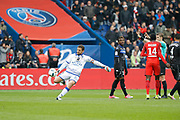 Jean-Louis LECA (SC Bastia) kicked the ball behind referee to show he is against the referee about goal scored by Marco Verratti (psg) during the French championship Ligue 1 football match between Paris Saint-Germain (PSG) and Bastia on May 6, 2017 at Parc des Princes Stadium in Paris, France - Photo Stephane Allaman / ProSportsImages / DPPI