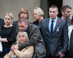 © Licensed to London News Pictures. 11/11/2015. Bristol, UK.  DARREN GALSWORTHY and ANJIE GALSWORTHY (left) with SAM GALSWORTHY (right) the Uncle of murder victim Rebecca Watts, at a press call outside Bristol Crown Court by after the verdicts were given by the jury in the case of the murder of Rebecca Watts.  Photo credit : Simon Chapman/LNP