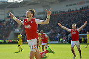 Rotherham United defender (on loan to Brighton last season) Greg Halford (15) celebrates scoring penalty to go 2-1 up during the Sky Bet Championship match between Rotherham United and Leeds United at the New York Stadium, Rotherham, England on 2 April 2016. Photo by Ian Lyall.