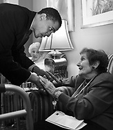 Democratic candidate for the U.S. Senate Barack Obama campaigns at Breakers at Edgewater senior citizens center on the north side of Chicago Monday March 15, 2004.