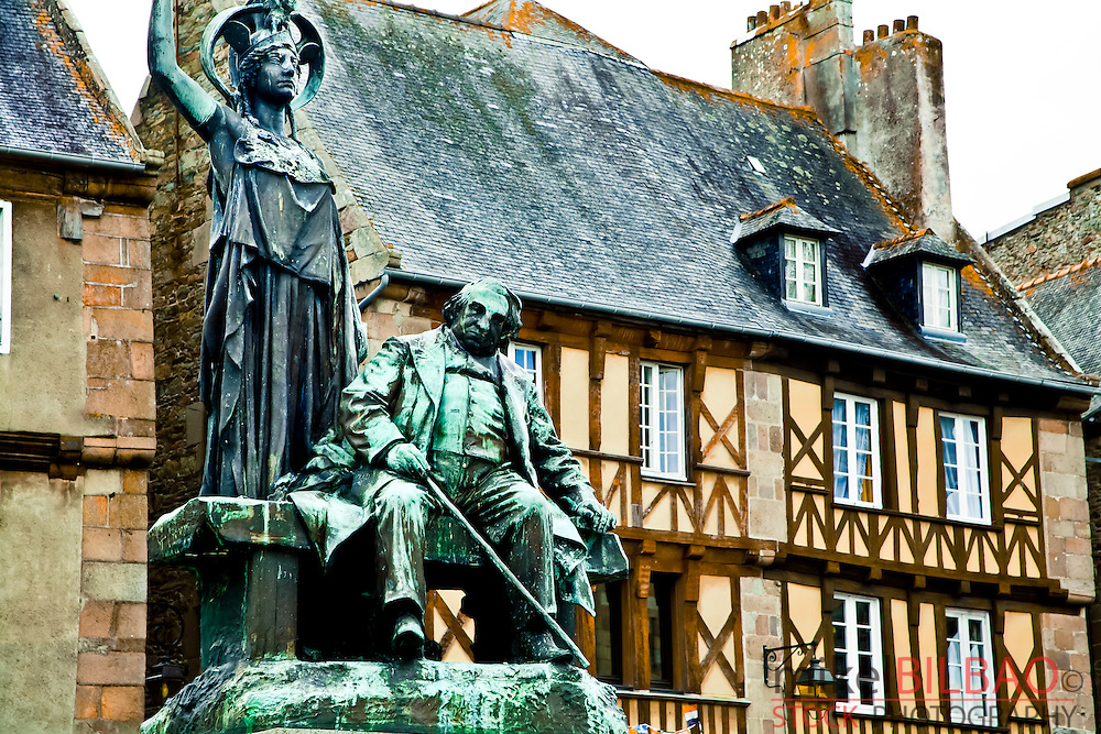 Statue of Ernest Renan in the town square.<br /> Tr&eacute;guier, C&ocirc;tes-d'Armor, Brittany, France.