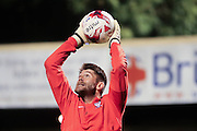 York City goalkeeper Scott Flinders during the Johnstone's Paint Trophy match between York City and Doncaster Rovers at Bootham Crescent, York, England on 6 October 2015. Photo by Simon Davies.