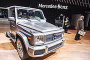 New York, NY - 1 April 2015. A Mercedes-Benz G65 AMG on display the the New York International Auto Show. The SUV boasts a 12-cylinder engine.