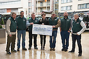 Seamus Dooley, Terry Gafney, Anthony O'Reilly,  Donna Burke from Pieta House , John Reel , Valentine Lynam and Declan Gallen who presented Donna with over 25k euro.<br />  On March 24th, 5 Land Rover Defenders departed Eyre Square on a eighteen day expedition to Norway, to benefit Pieta House. The convoy of  vehicles accommodated 12 passengers and headed for their destination Bergen, on the west coast of Norway. The overland expedition crossed nine countries and covered a distance of 5,760 km, with the group arriving back in Eyre Square <br />  Photo:Andrew Downes, xposure.