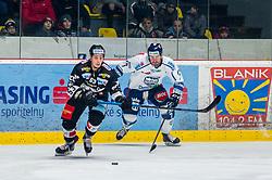 26.12.2018, Ice Rink, Znojmo, CZE, EBEL, HC Orli Znojmo vs Fehervar AV 19, 31. Runde, im Bild v.l. Radim Matus (HC Orli Znojmo) Zack Phillips (Fehervar AV19) // during the Erste Bank Eishockey League 31th round match between HC Orli Znojmo and Fehervar AV 19 at the Ice Rink in Znojmo, Czechia on 2018/12/26. EXPA Pictures © 2018, PhotoCredit: EXPA/ Rostislav Pfeffer