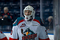 KELOWNA, CANADA - JANUARY 30:  Roman Basran #30 of the Kelowna Rockets warms up against the Seattle Thunderbirds on January 30, 2019 at Prospera Place in Kelowna, British Columbia, Canada.  (Photo by Marissa Baecker/Shoot the Breeze)