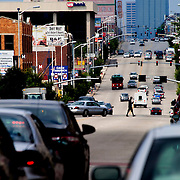 Zoom photo view northward up Main Street in Kansas City, MO, taken from intersection of 39th Street & Main.