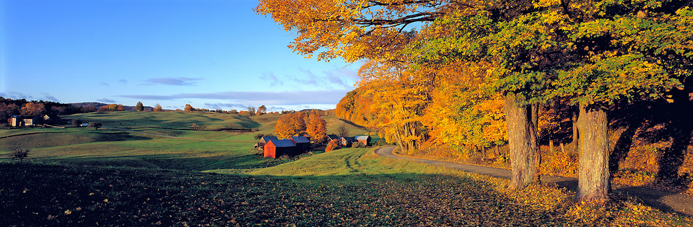 Sunset highlights the fall color at Jenne Farm near Woodstock, Vermont